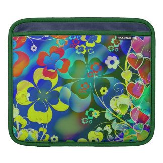 standard with clovers and flowers iPad sleeves