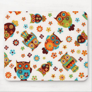 standard with owls and flowers mouse pads