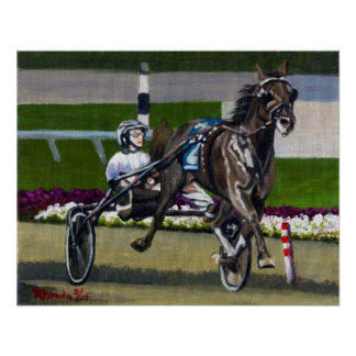 Standardbred Coming Home Racehorse Portrait Poster