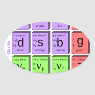 Standart model of elementary particles oval sticker