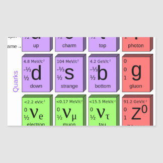 Standart model of elementary particles rectangular sticker