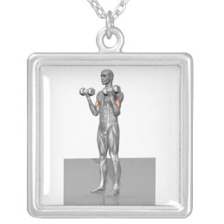 Standing Biceps Curl 2 Square Pendant Necklace
