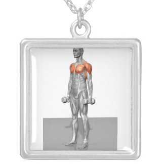 Standing Biceps Curl Square Pendant Necklace