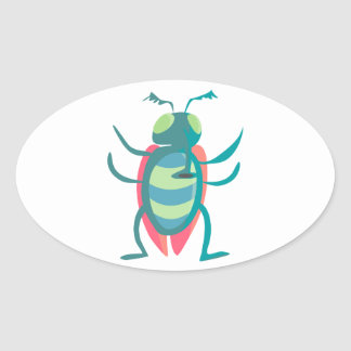Standing Blue and Red Cartoon Fly with Arms Out Oval Sticker