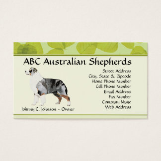 Standing Blue Merle Aussie on Green Leaves Business Card