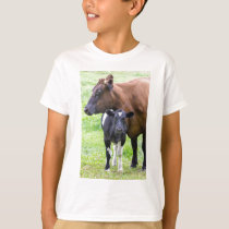 Standing brown mother cow with black white calf T-Shirt