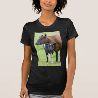 Standing brown mother cow with black white calf tee shirt