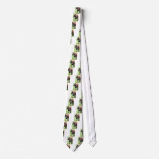 Standing brown mother cow with black white calf tie