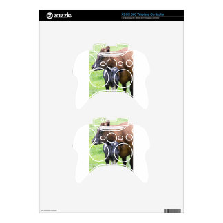 Standing brown mother cow with black white calf xbox 360 controller skin