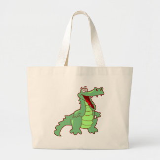 Standing Cartoon Alligator Large Tote Bag