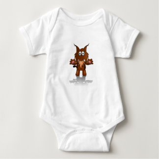 Standing Cartoon Lynx with Outstretched Arms Baby Bodysuit