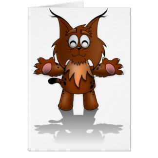 Standing Cartoon Lynx with Outstretched Arms Card