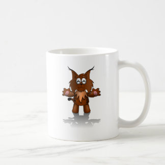 Standing Cartoon Lynx with Outstretched Arms Coffee Mug