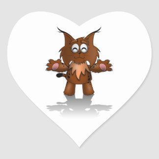 Standing Cartoon Lynx with Outstretched Arms Heart Sticker