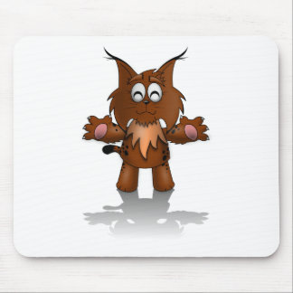 Standing Cartoon Lynx with Outstretched Arms Mouse Pad