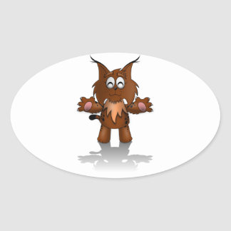 Standing Cartoon Lynx with Outstretched Arms Oval Sticker