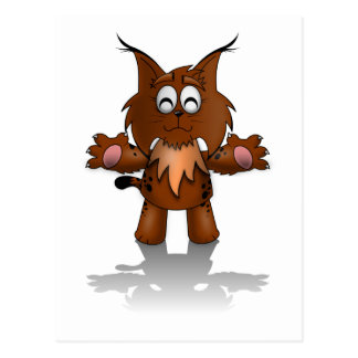 Standing Cartoon Lynx with Outstretched Arms Postcard