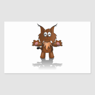 Standing Cartoon Lynx with Outstretched Arms Rectangular Sticker