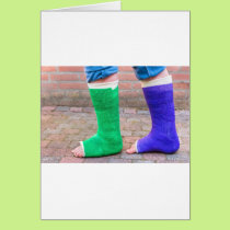 Standing child with two colorful gypsum legs card