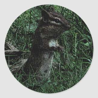 Standing Chipmunk Drawing Classic Round Sticker