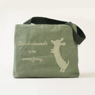 Standing Dachshund dog canvas utility tote