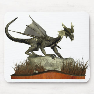 Standing Dragon on a Rock Mouse Pad