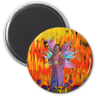 Standing Fairy in a field of flames with flowers 2 Inch Round Magnet
