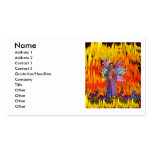 Standing Fairy in a field of flames with flowers Business Card Templates