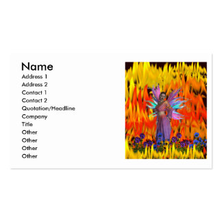 Standing Fairy in a field of flames with flowers Business Card
