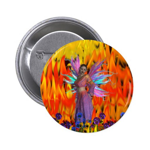 Standing Fairy in a field of flames with flowers Buttons
