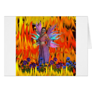 Standing Fairy in a field of flames with flowers Cards