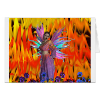 Standing Fairy in a field of flames with flowers Card
