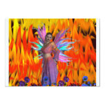 Standing Fairy in a field of flames with flowers Custom Invite