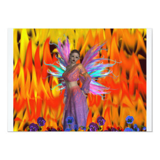 """Standing Fairy in a field of flames with flowers 5"""" X 7"""" Invitation Card"""