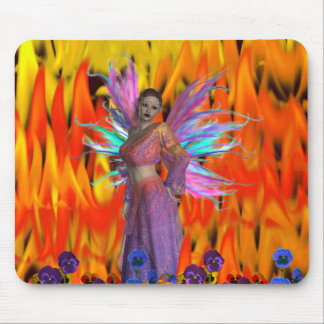 Standing Fairy in a field of flames with flowers Mouse Pad