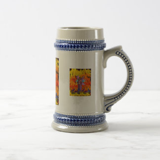 Standing Fairy in a field of flames with flowers 18 Oz Beer Stein