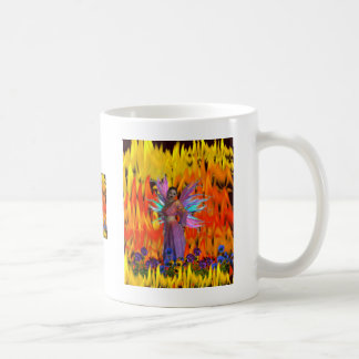 Standing Fairy in a field of flames with flowers Classic White Coffee Mug