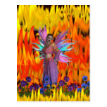 Standing Fairy in a field of flames with flowers Postcard