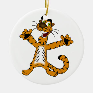 Standing Green Eyed Cartoon Tiger with Arms Out Ceramic Ornament