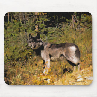 Standing Grey Wolf & Forest Wildlife Photo Art Mouse Pad