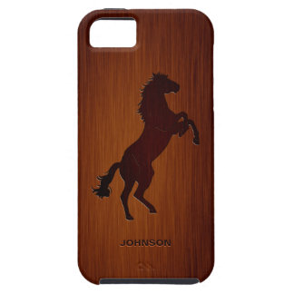 Standing Horse with Custom Name & Luxury Rosewood iPhone 5 Case