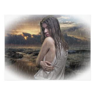 Standing in the rain postcard