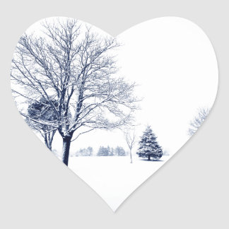Standing In The Snow Heart Sticker