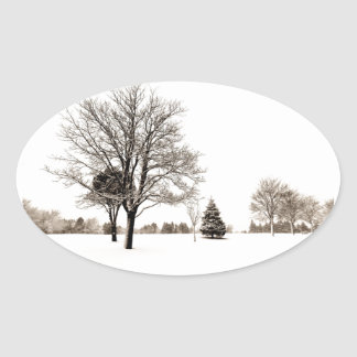 Standing In The Snow Oval Sticker