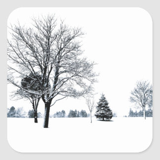 Standing In The Snow Square Sticker