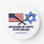 Standing in Unity with Israel Round Clocks