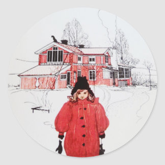 Standing in Winter Snow Classic Round Sticker
