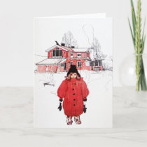 Standing in Winter Snow Holiday Card