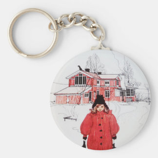 Standing in Winter Snow Keychains