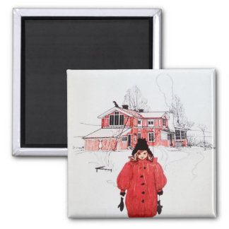 Standing in Winter Snow Fridge Magnet
